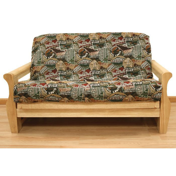 Travel Pattern Full Size Futon Cover Full Size Multicolor With