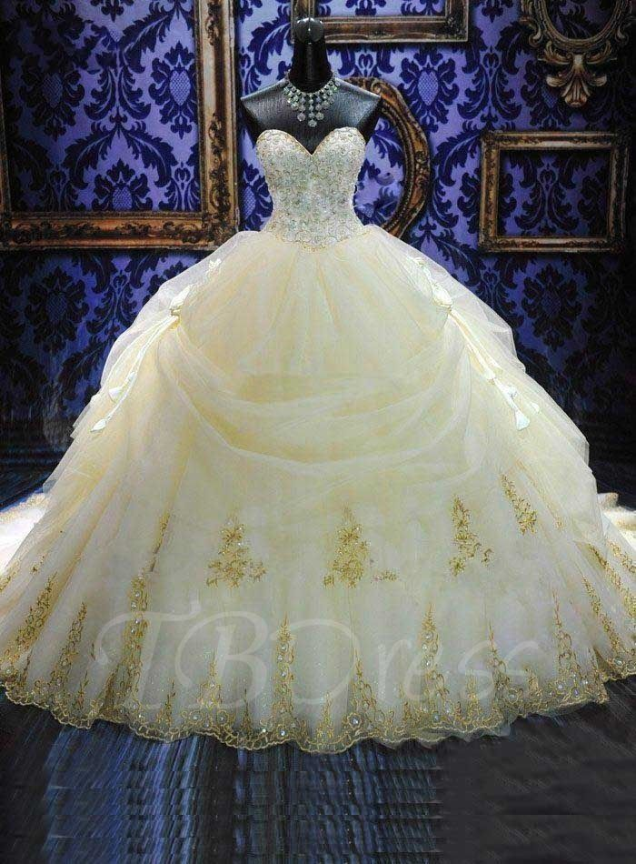 Deluxe Royal Cathedral Beaded Sweetheart Ball Gown Wedding Dress ...