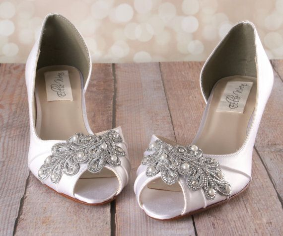 Ivory Wedding Shoes Ivory D Orsay Style Kitten Heel Peeptoe