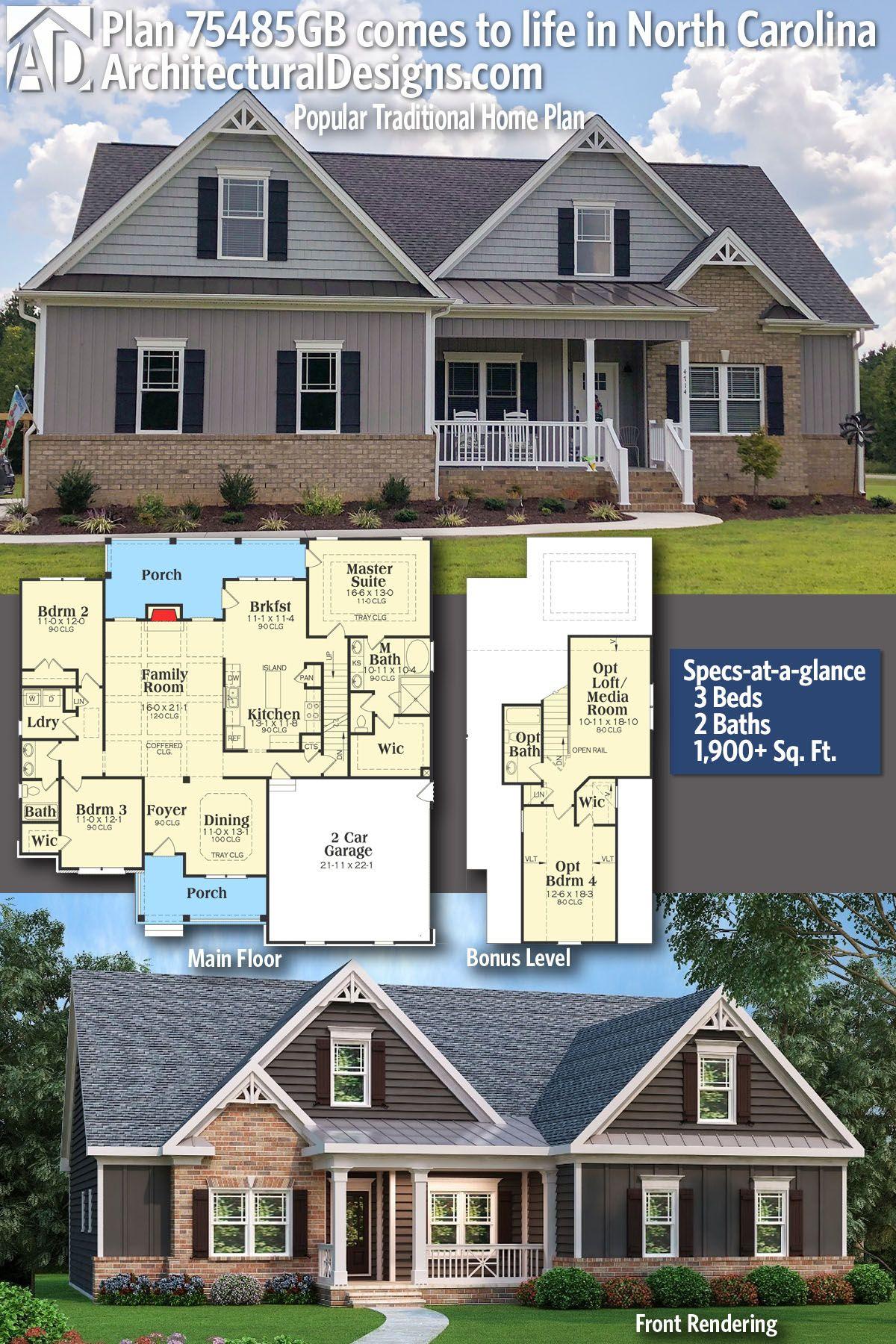 Plan 75485gb Popular Traditional Home Plan Craftsman House
