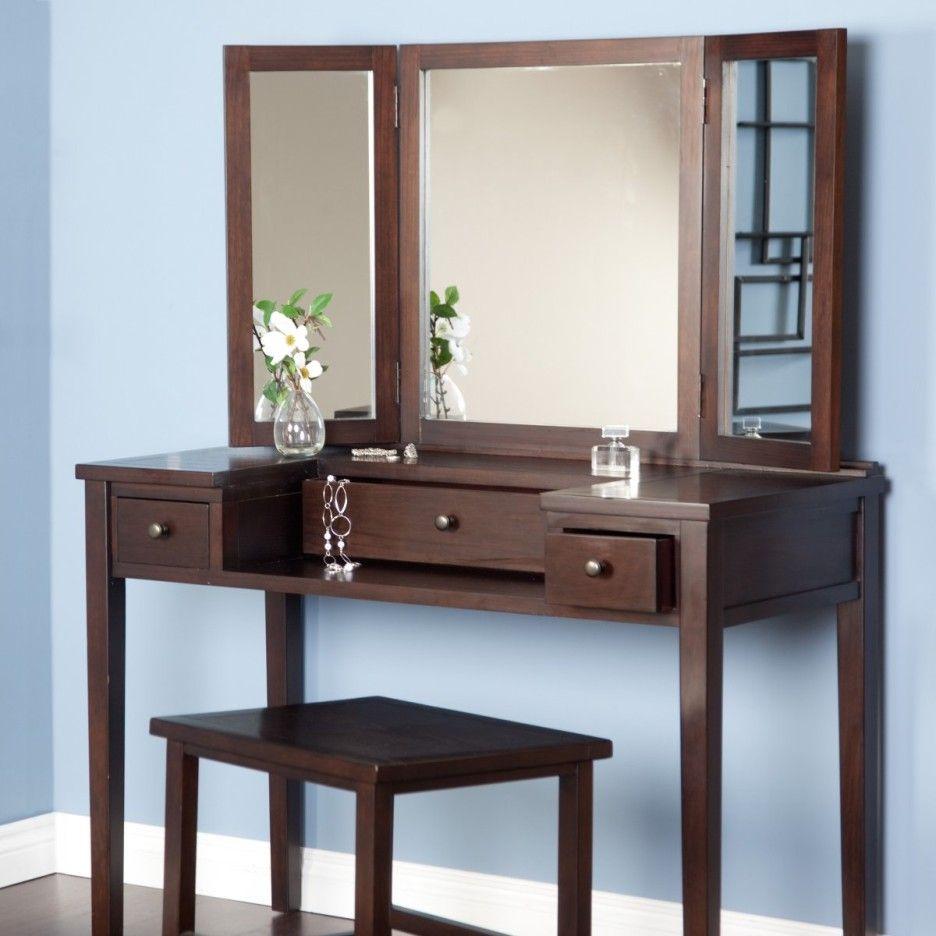 Furniture Vanity Dressing Design Idea With Dark Brown Wooden Meterials Designed With Drawers Also Minimalist Dressing Tables Dressing Table Design Home Decor Dark brown bedroom vanity