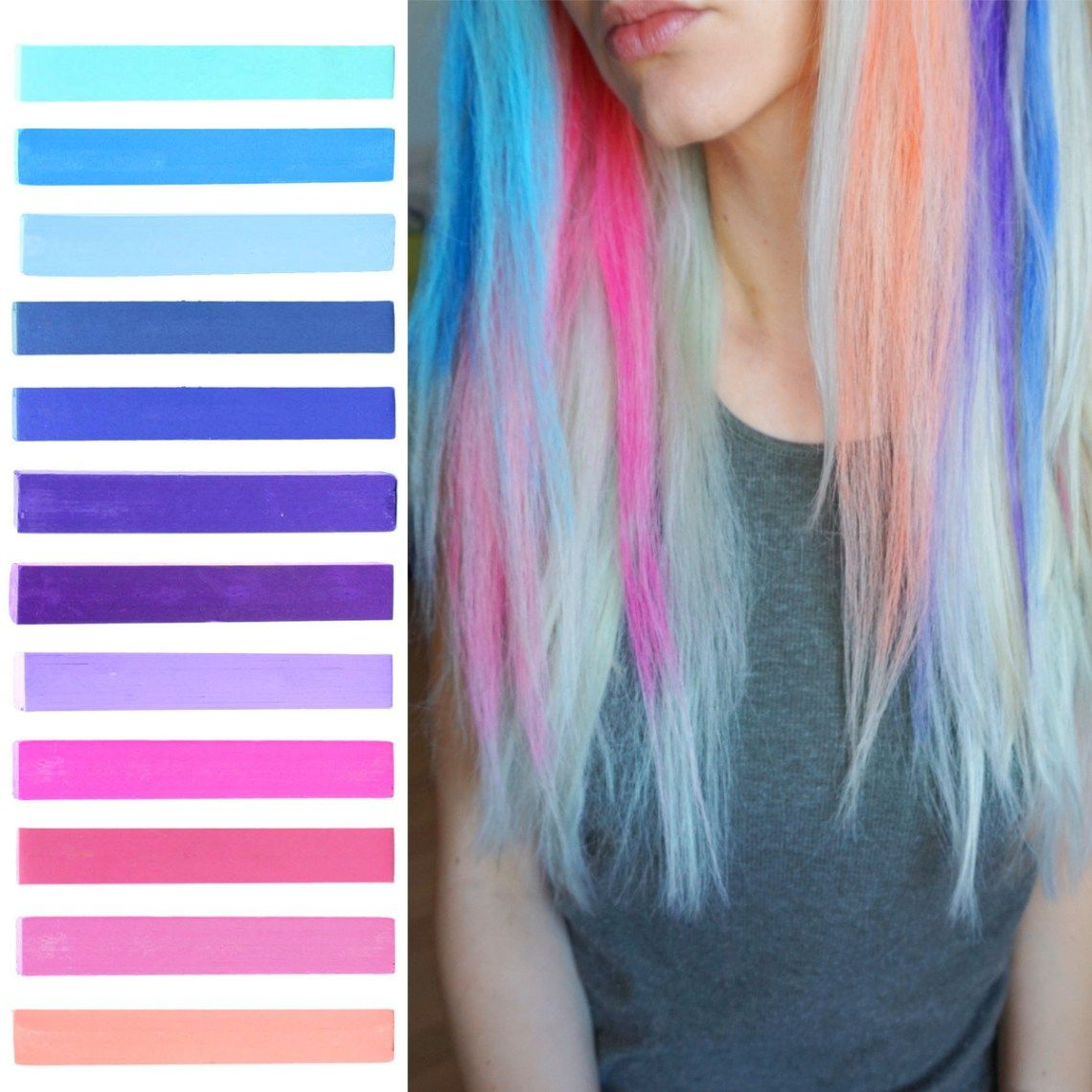 Dye your hair simple & easy to ombre galaxy hair color - temporarily use ombre galaxy hair dye to achieve brilliant results! DIY your hair ombre with hair chalk