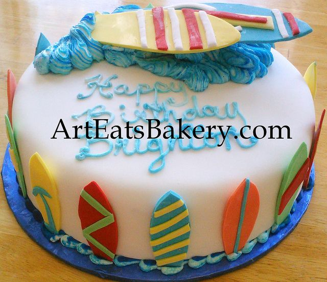 Custom boy's blue, yellow, red and orange surfboard and butter cream waves birthday cake design | Flickr - Photo Sharing!