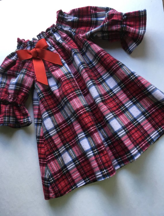 14a24e65d Red Plaid Dress/ Peasant Dress/ Tunic Top/ Christmas Dress/ 12 months -Toddler  Sizes