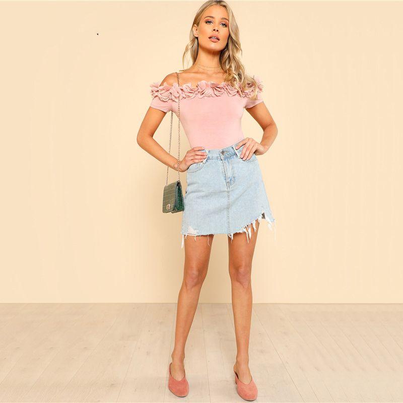 2fd10ebc8 Sexy Bodysuit Pink Short Sleeve Mid Waist Party Wear Skinny Flower Applique  Off the Shoulder