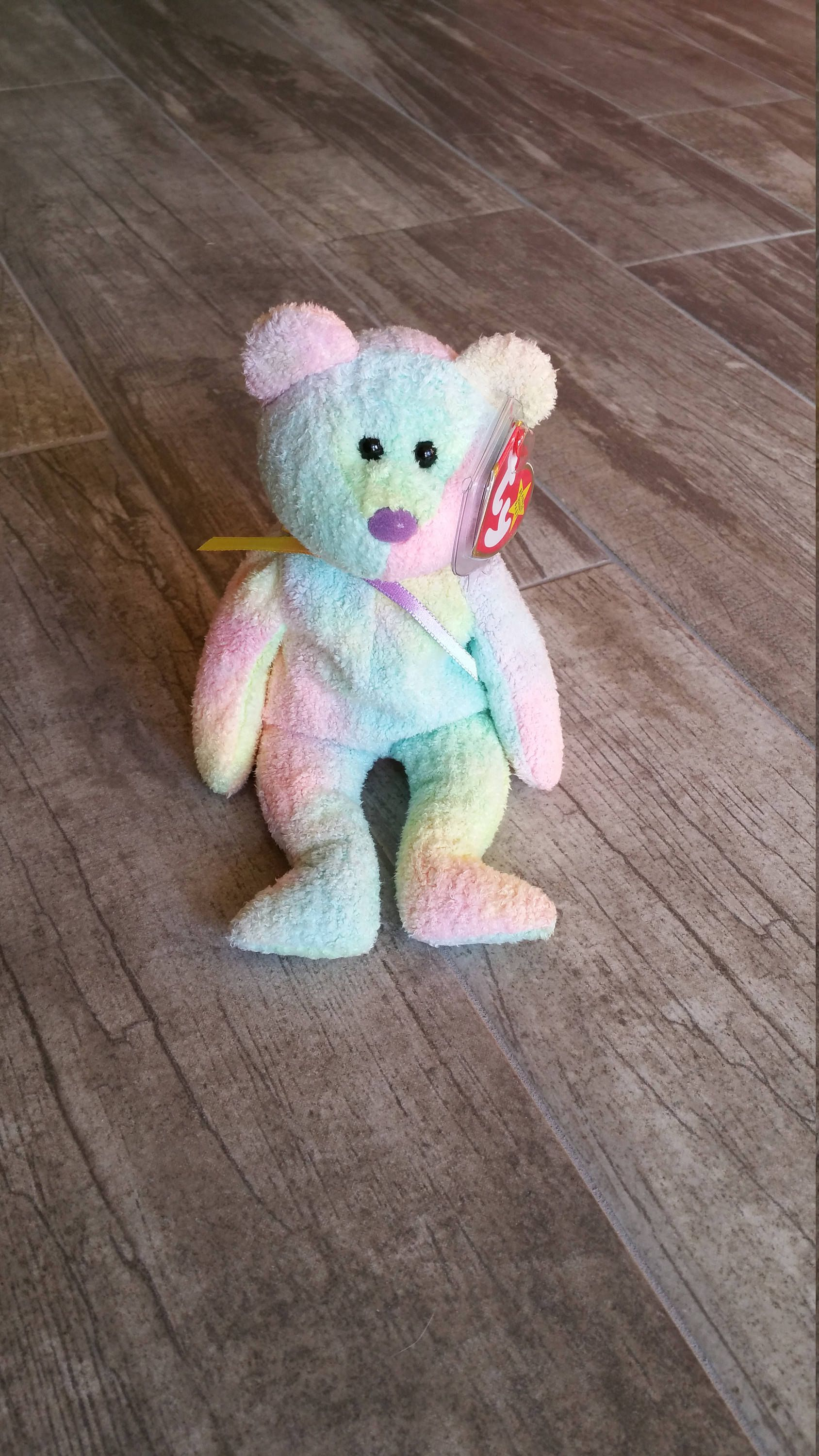 c041e252e88 Vintage TY Beanie Baby - Birthday Gift - Pastel Tie Dye - Birthday Decor -  Baby Shower Gift - Rare Collectible - Groovy the Rainbow Bear by ...