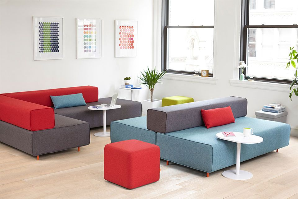 Block Party Lounge Bench   Office Furniture   Poppin flexible/functional  configurations - like the