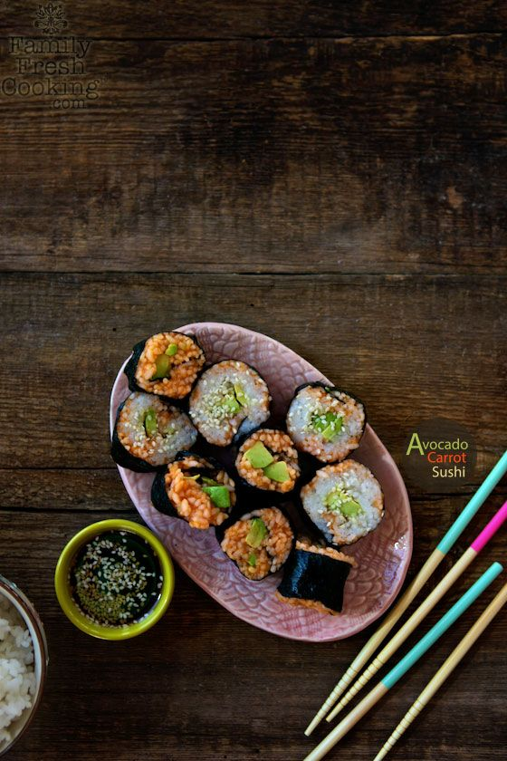 Avocado Carrot Vegetable Sushi Rolls | FamilyFreshCooking.com