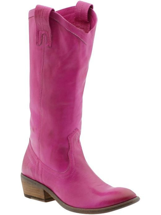 Pink Frye cowboy boots, the PERFECT combination.