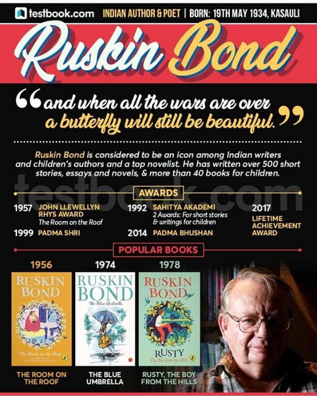 Author Writer Ruskin Bond Book Love Beautiful Photooftheday Like4likes Followmenow Upsccoaching Upsc India Sscc Ruskin Bond Childrens Authors Bond