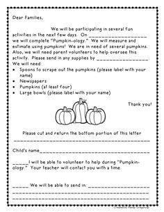 Pumpkin Math Freebies Letter To Parents
