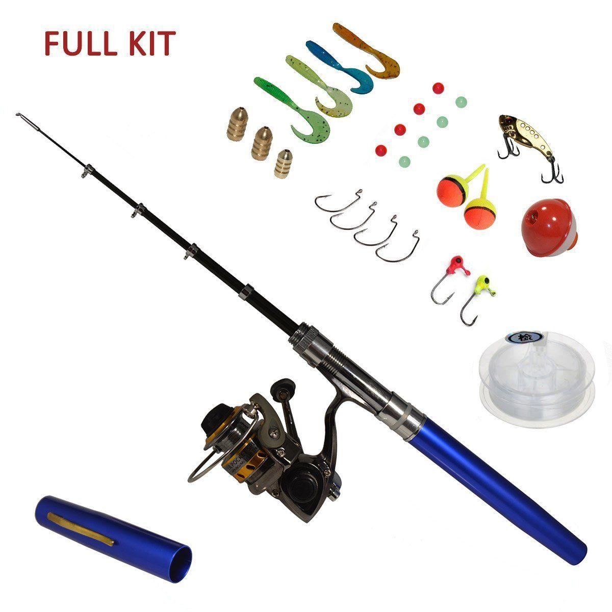 Pen fishing rod mini pocket fishing pen and spinning reel for Pocket fishing kit