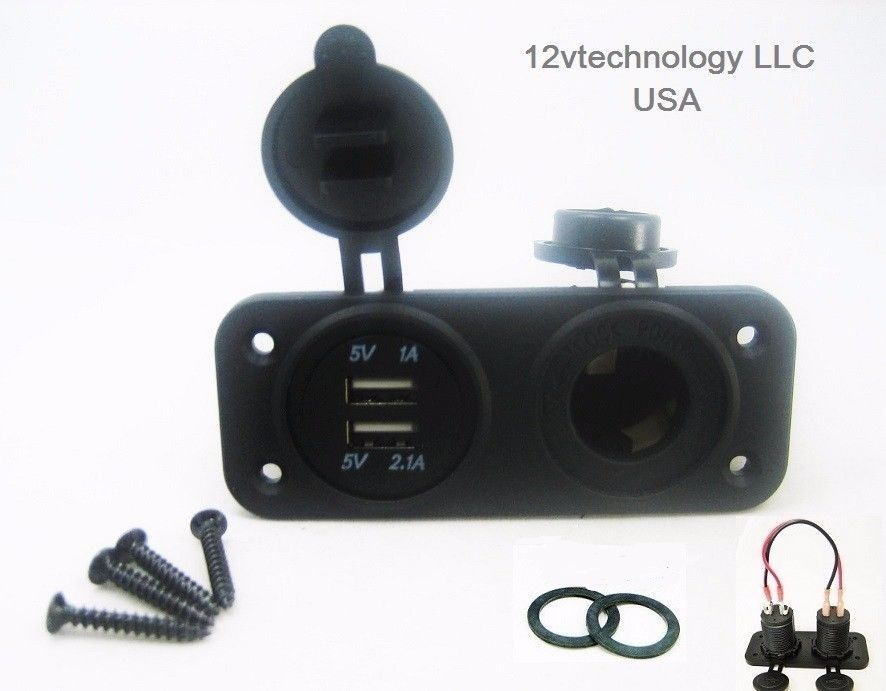 New Dual Usb Charger 4 8a Socket Panel Mount Marine 12v Outlet 60 Wires Dual Usb Usb Chargers Usb