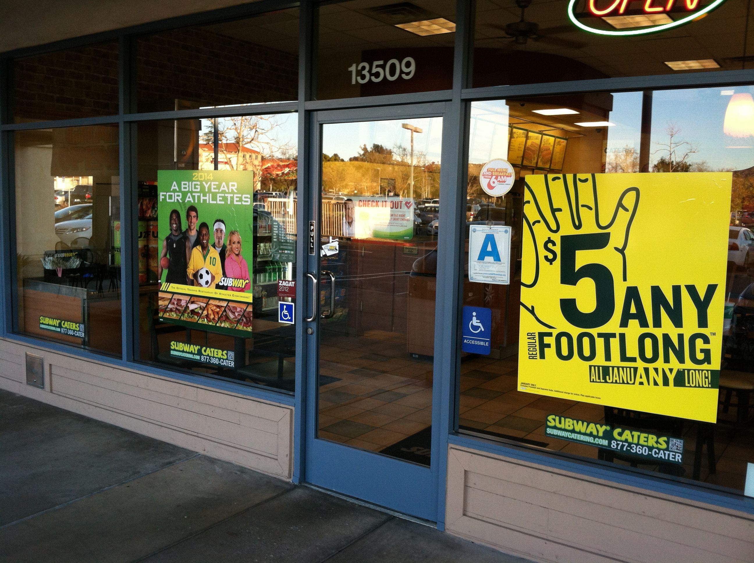 Subway exterior window signs | Restaurant marketing ...