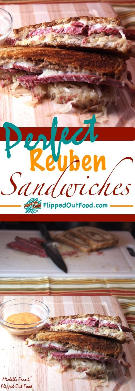 An easy recipe for melty, decadent Reuben sandwiches made—ideally—with leftover homemade corned beef. via @FlippedOutFood