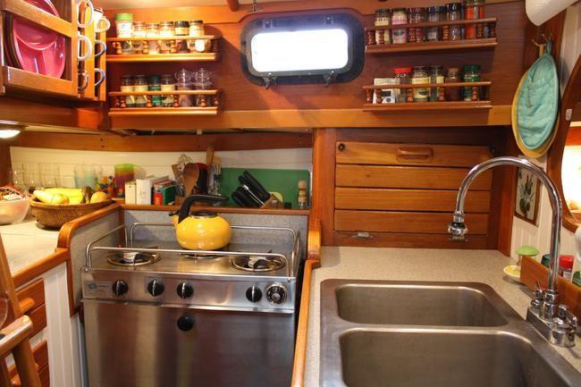 Cooking Afloat | Boat interior, Sailboat interior, Boat decor