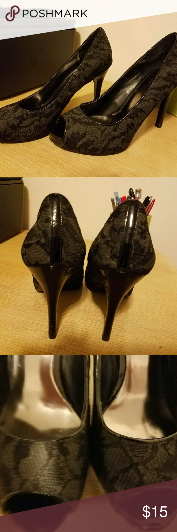 Black Lacey Pumps Peep Toe These are in good used condition. A couple of small blemishes and soles are used looking. Barely noticeable blemishes.  Carlos santana brand. Peep toe. Carlos Santana Shoes Heels
