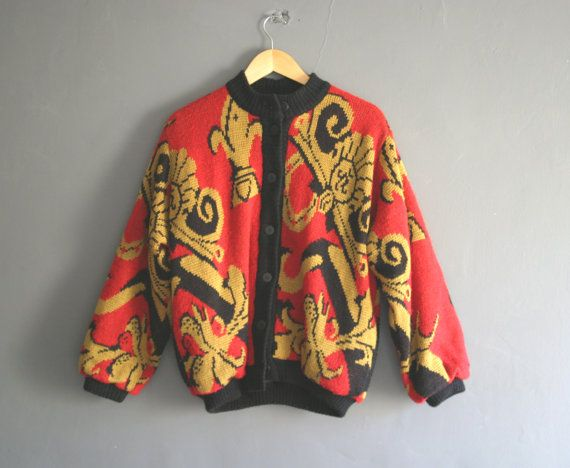 Vintage Versace Style 80s Bomber Jacket Cardigan In Red Gold By Violetsatticvintage Bomberjacket Versace Bomber Jacket Fashion Clothes Fashion