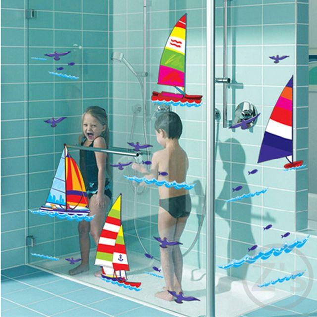 sportovní Plachetnice Loď na moři stěny štítku pro sprchový kout dlaždice etiket v koupelně pro děti dětský dítě na lázni AY7030