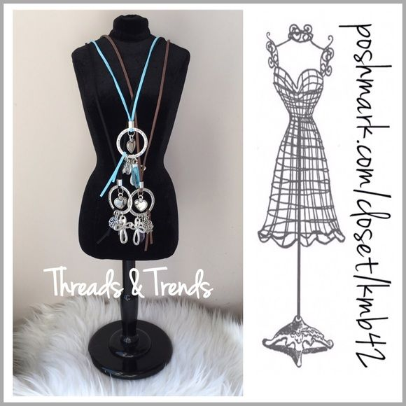 """Bohemian Charm Necklaces On trend bohemian charm Necklaces. Love, Dream, Hope, Trust are engraved around the silver circle. Leather straps with silver hardware and charms. Straps come in mint, black or brown. Total length including charms 17"""".               Pastel                                                           Charms include Cross Little monkey Heart Tree of life circle Leaf Crystal cylinder Threads & Trends Jewelry"""