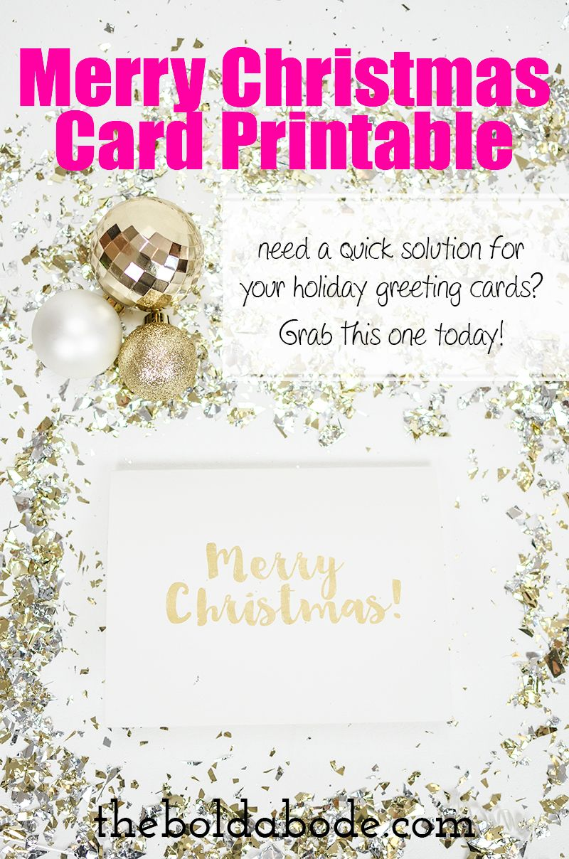 gold foil merry christmas card printable - Merry Christmas Cards Printable