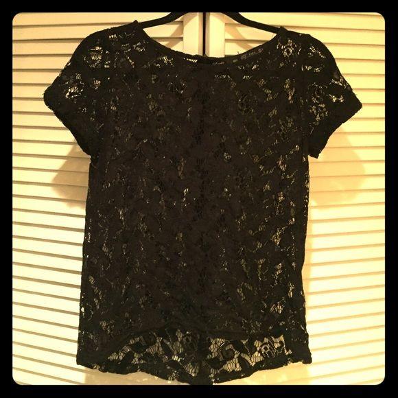Zara black lace tee S Zara Collection | lace tee | black | exposed zipper | gently worn | size small Zara Tops Tees - Short Sleeve