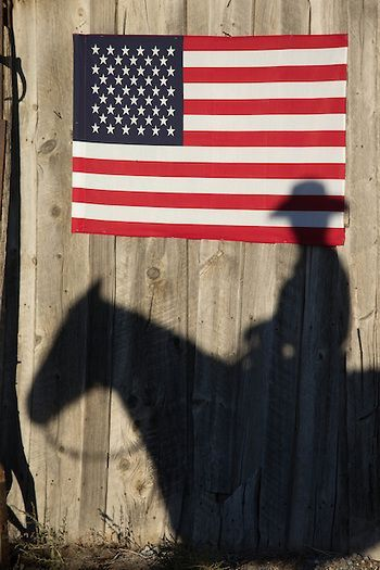 Cowboy Horse Shadow With American Flag Reflection On A Barn Door Western Photography Gold Star Mother Western Landscape