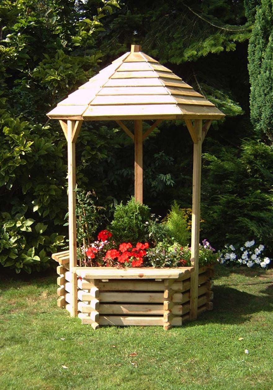 Wooden garden wishing well planter wood projects for Garden wishing well designs