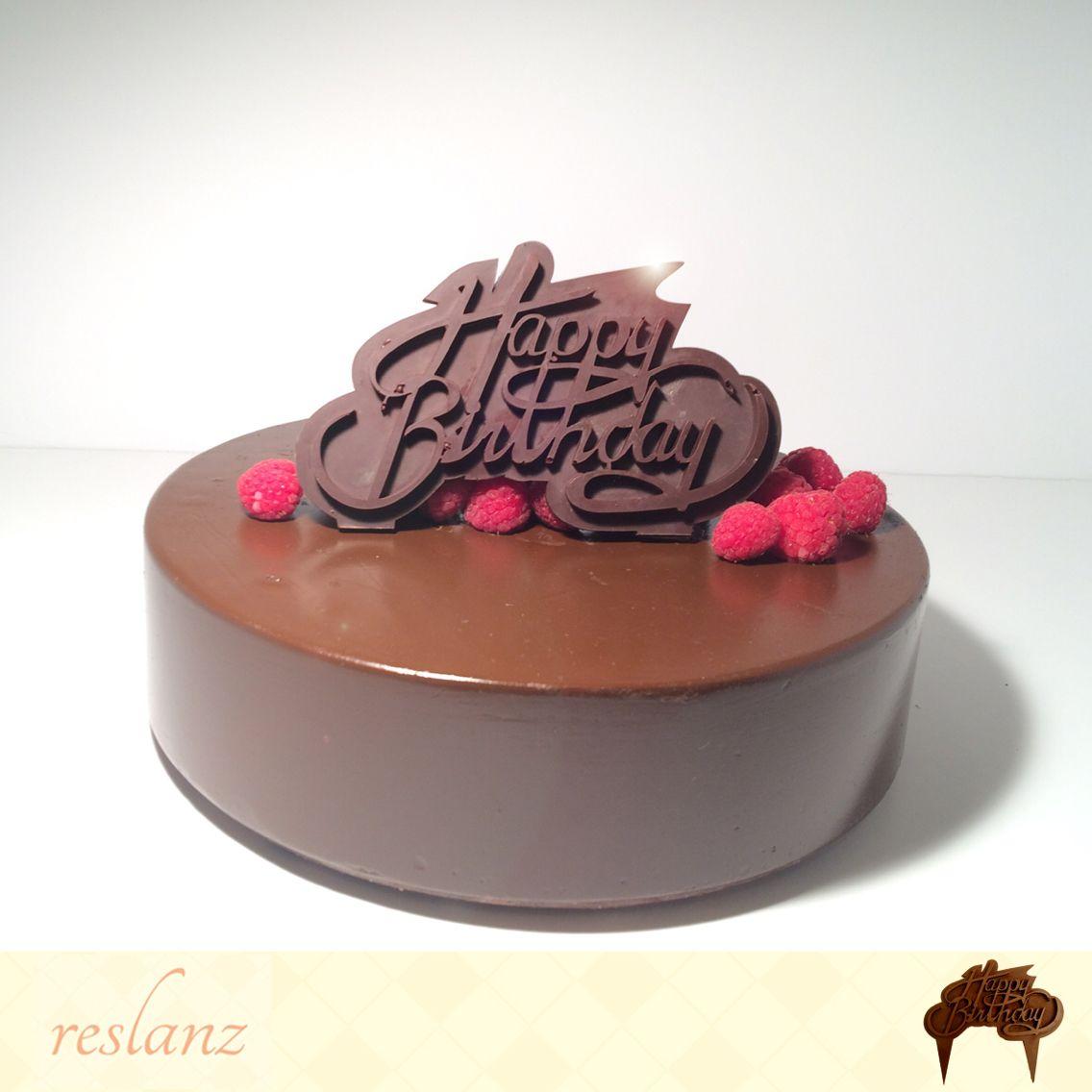 Happy birthday Chocolate cake topper. Made from 70% dark chocolate ...