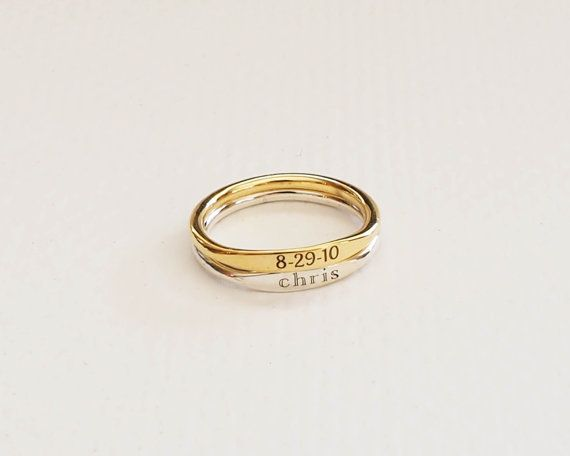 30% OFF Skinny Stackable Name Ring от CaitlynMinimalist на Etsy