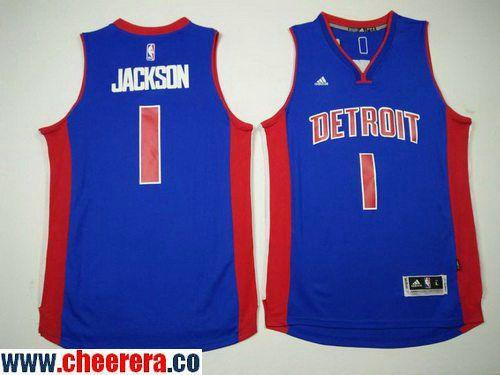 bbd548b74 Men s Detroit Pistons  1 Reggie Jackson Blue Stitched NBA adidas Revolution  30 Swingman Jersey