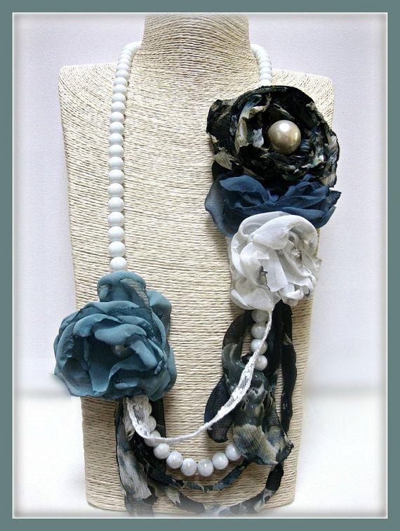 Boho azul con cuentas hechas a mano flores collar shabby - Telas shabby chic ...