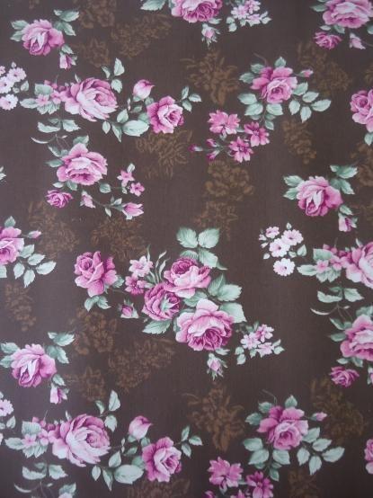 Tecido Adesivo Floral Marrom e Rosa