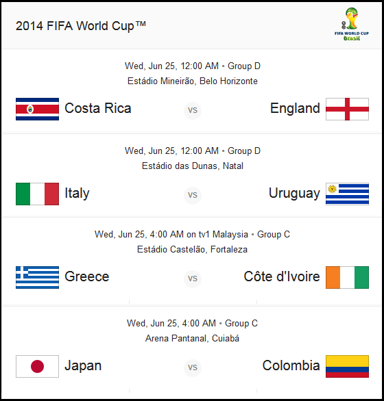 World Cup Matches 25 June 2014 Wed Myt Group D 12 00 Am Costa Rica Vs England Group D 12 00 Am Italy Vs Ur World Cup Match World Cup Fifa World Cup