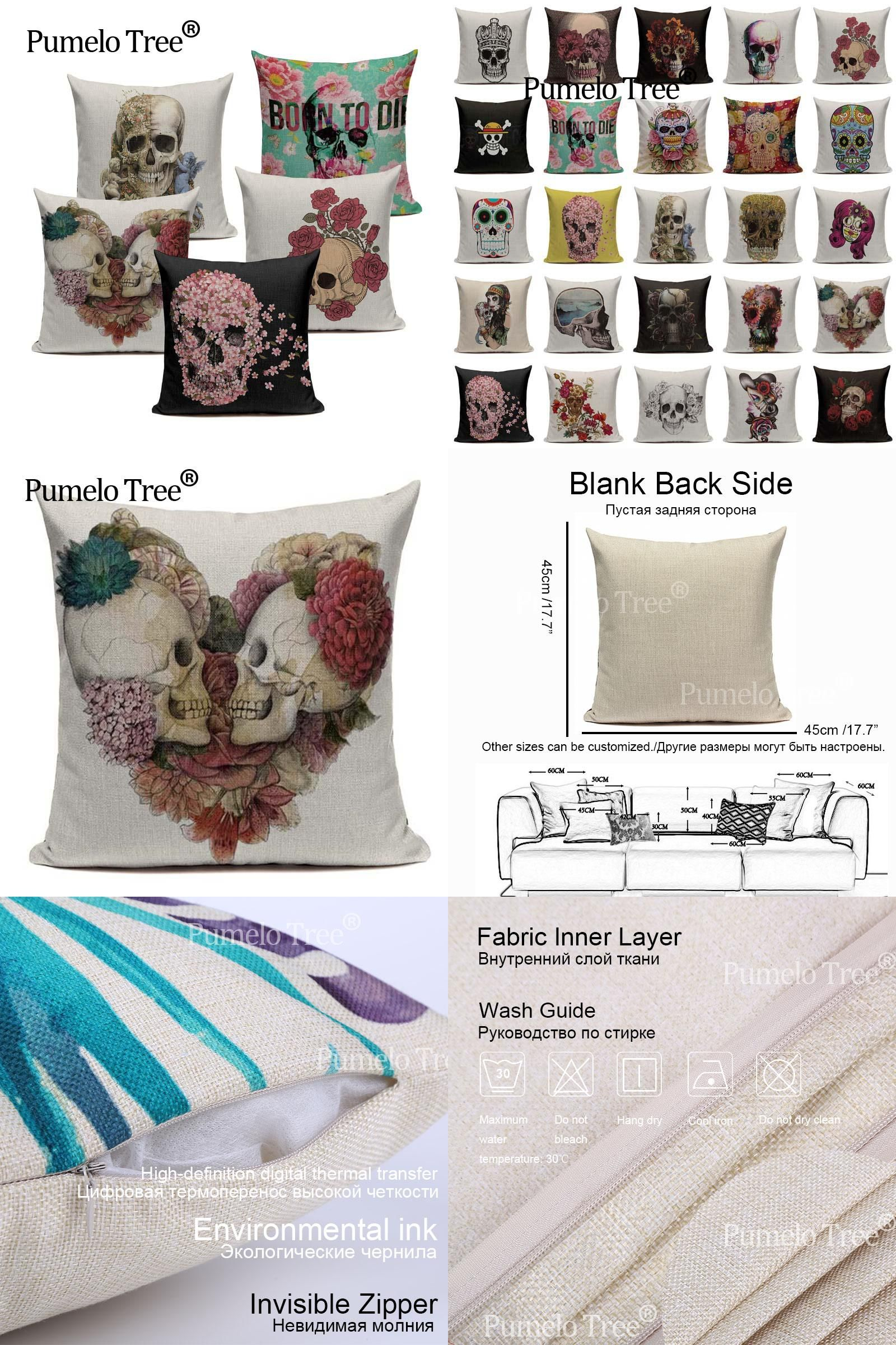 Visit to Buy] Vintage Mexican Skull Cushion Covers For Sofa Home