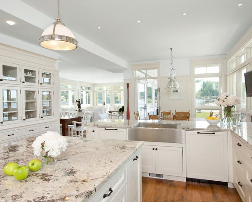 Beau Image Of: Alaskan White Granite With White Cabinets