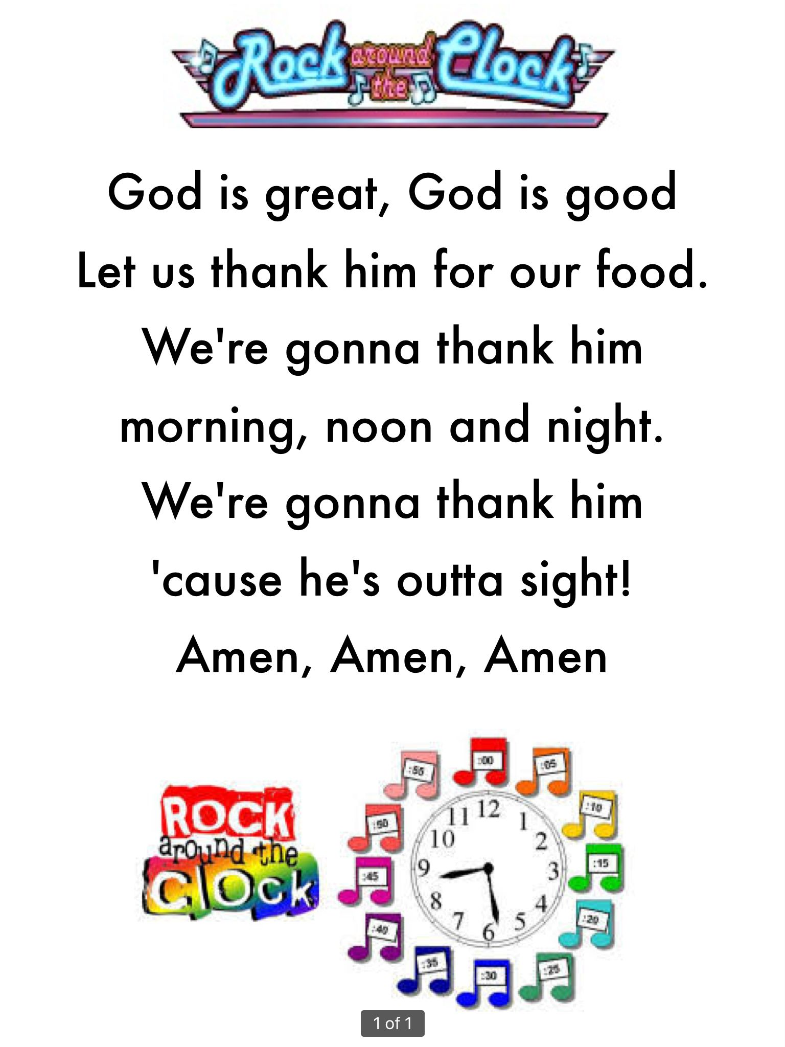 Easy To Learn Grace Or Prayer Before Meals For Preschool Children