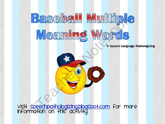 Marvelous Baseball Multiple Meaning From Speech Language Pathologizing On  TeachersNotebook.com (16 Pages)