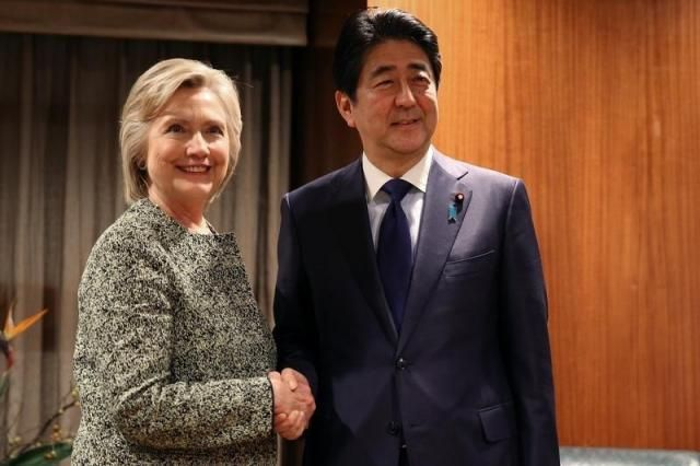 U.S. Democratic presidential candidate Hillary Clinton meets with Japan's Prime Minister Shinzo Abe about the TPP