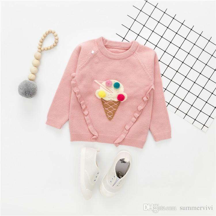c4c349ba5527 Baby kids sweater autumn winter new girls ice cream pompon pullover ...