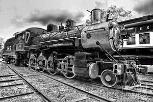 Train - Steam Engine Locomotive 385 In Black And White by Paul Ward