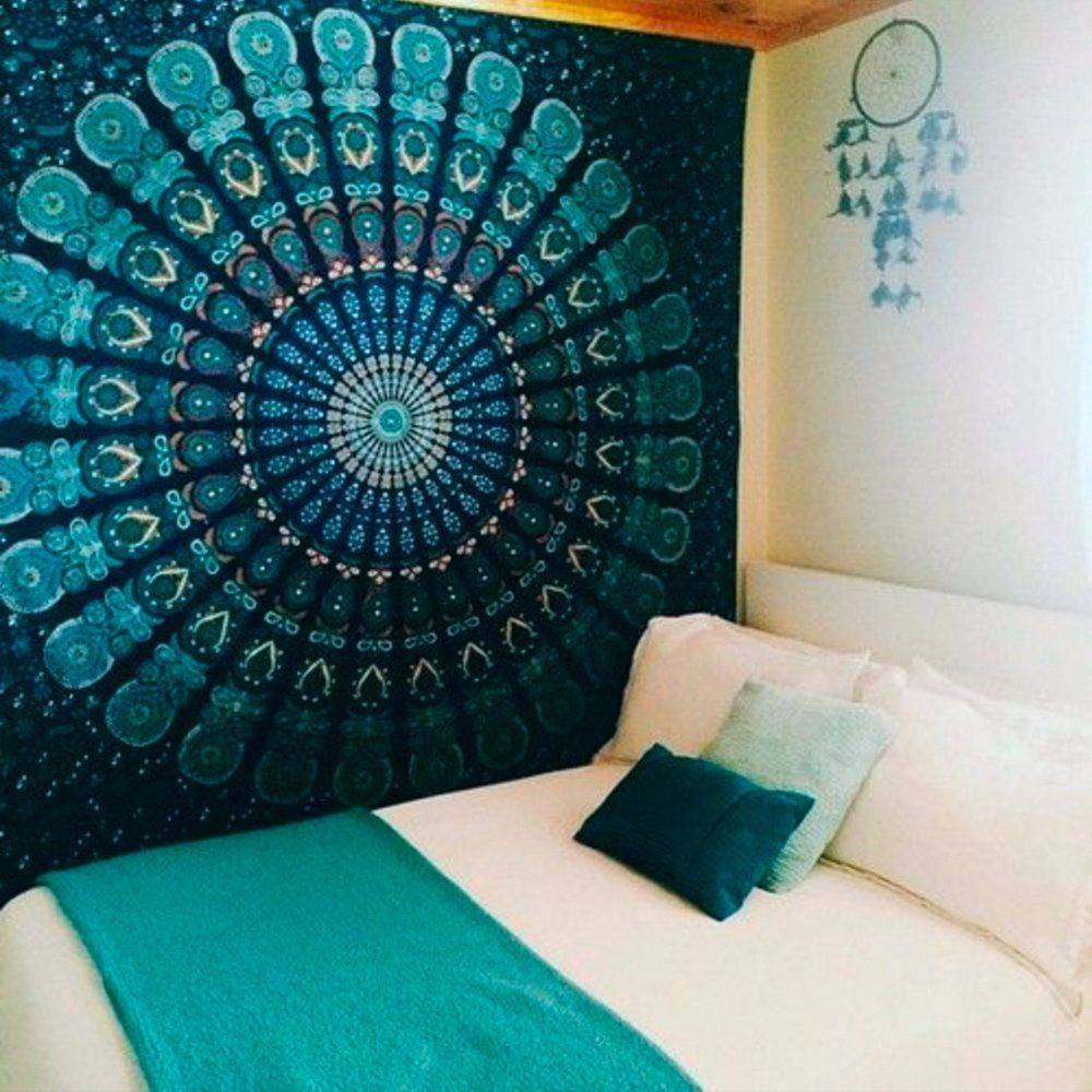 Amazon.com: Popular Hippie Mandala Bohemian Psychedelic Intricate Floral Design Indian Bedspread Magical Thinking Tapestry (M, green peacock feather): Posters & Prints