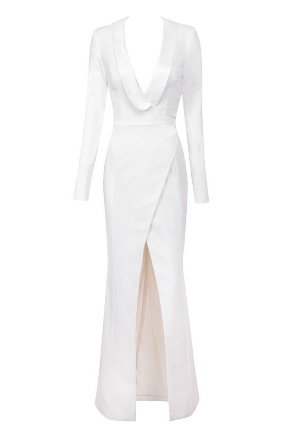 71d24a5387a8 Clothing : Max Dresses : 'Salome' Off-White Draped Tux Maxi Dress ...