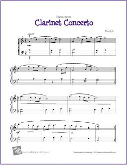 Clarinet Concerto Mozart With Images Piano Sheet Music Easy