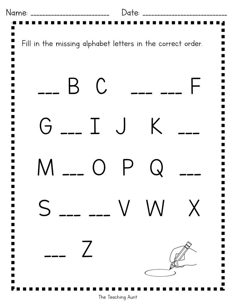 45++ Free worksheets for kindergarten writing the alphabet missing letters Top