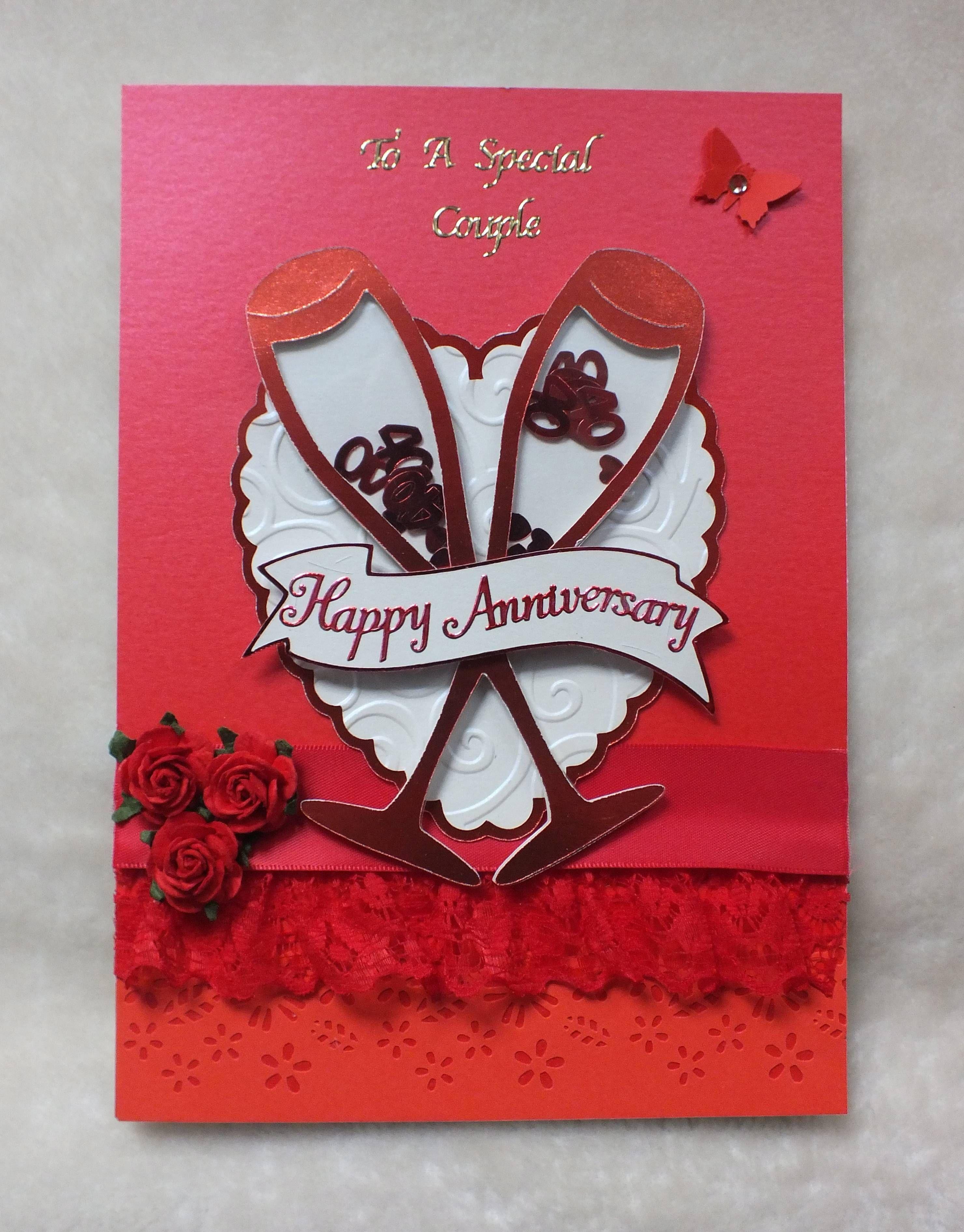 Handmade Ruby Wedding Anniversary Card By Mandishella Anniversary Cards Handmade Wedding Anniversary Cards Happy Anniversary Cards