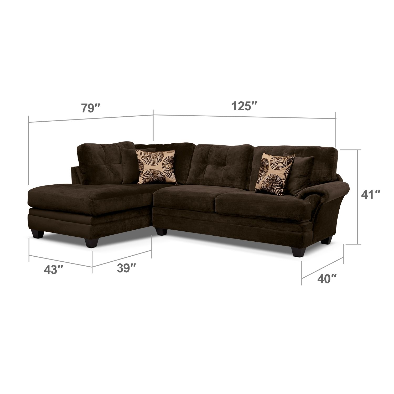 Living Room Furniture - Cordoba Chocolate II 2 Pc. Sectional ...