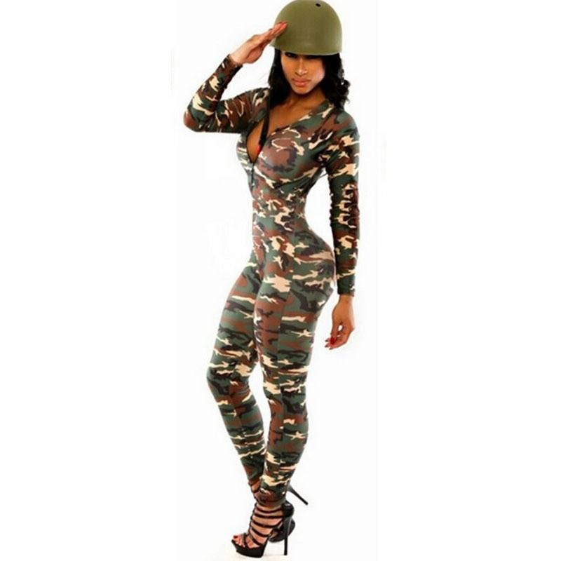 67905d8d062 Sexy Jumpsuit Camouflage Women Rompers The Army Soldier Catsuit Long Sleeve  Bodycon Playsuit Overall For Women
