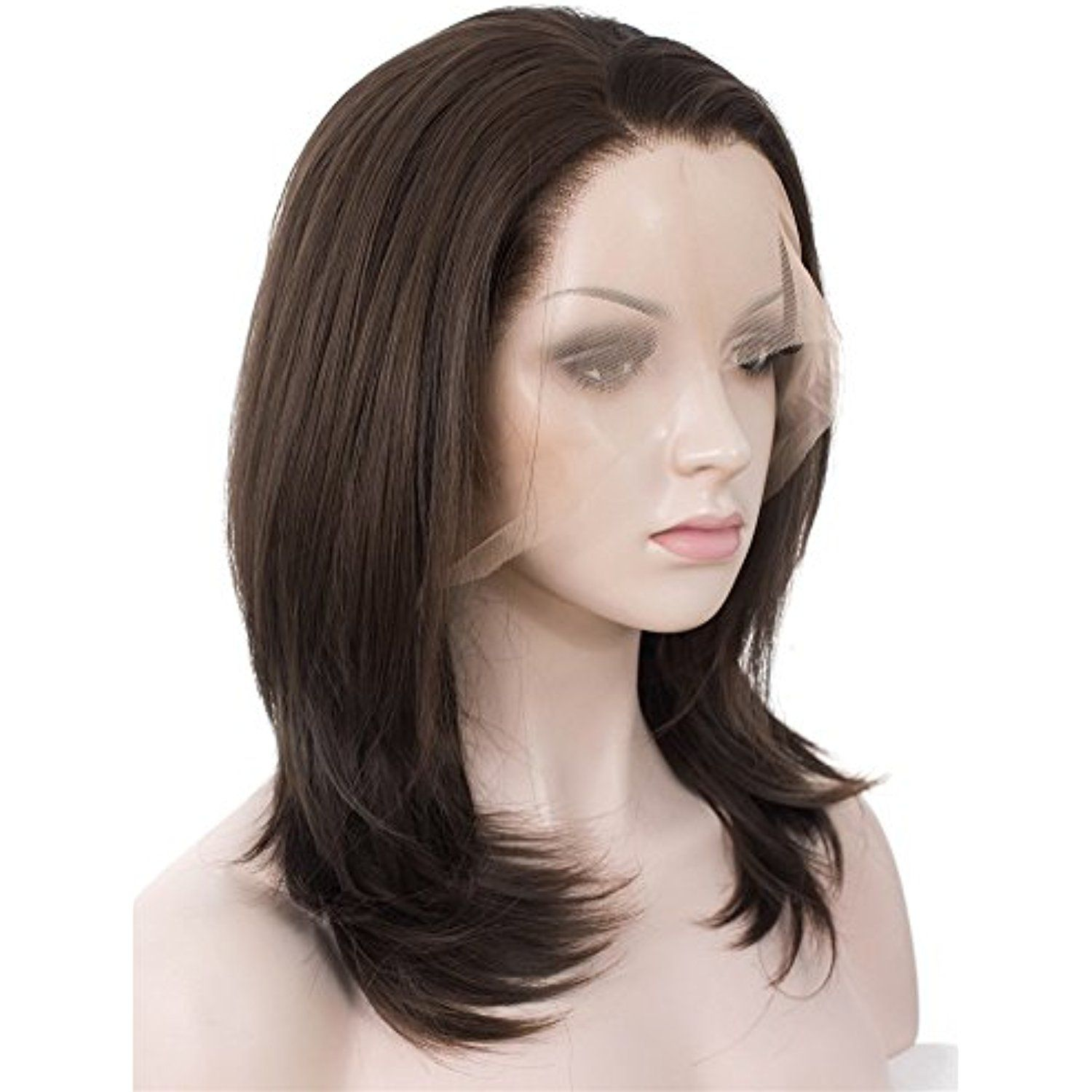 Boy hairstyle wigs imstyle shoulder length natural straight lace front wig synthetic