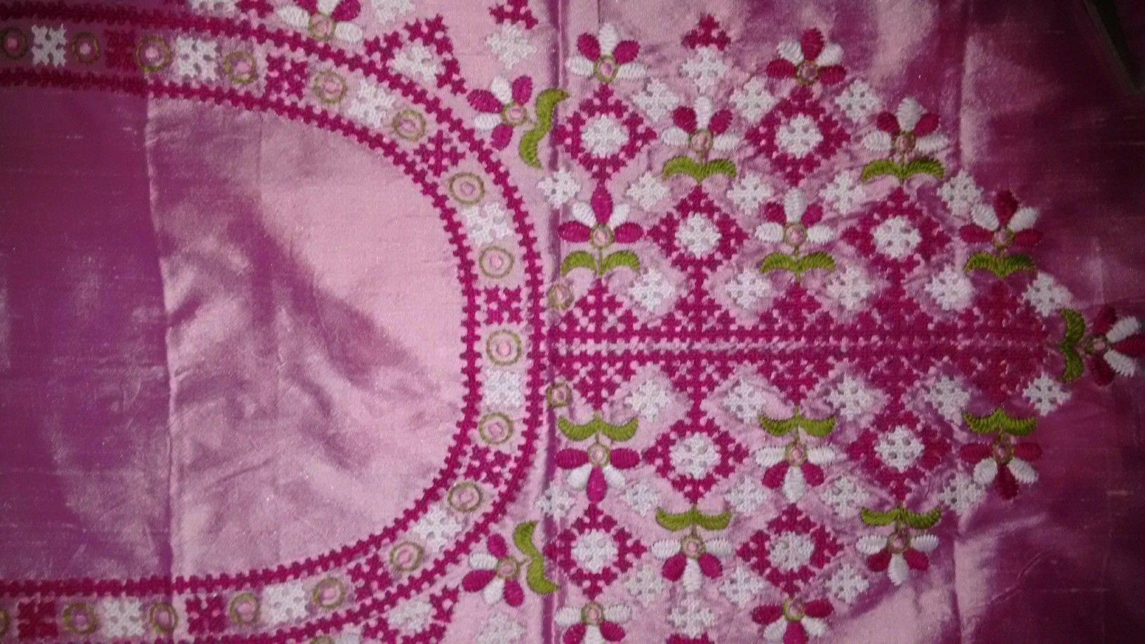 Neck yoke kutch work on silk by sonal denim bags and quilts